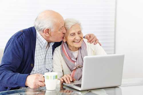 Senior couple considers home care options