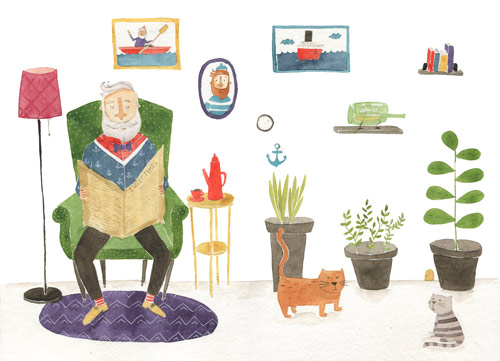 Water color senior man with dog