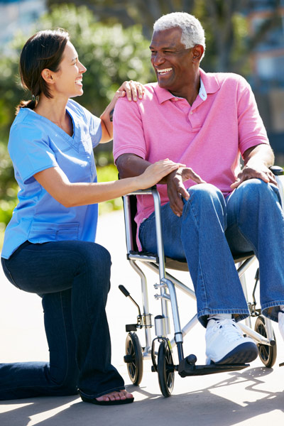 Female home health aide providing companionship services for loved one